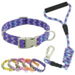 Nylon Dog Collars Leashes Adjustable Dog Rock Climbing Dogs Collar for Small Medium Large Pet Collars Leashes Set S-XL