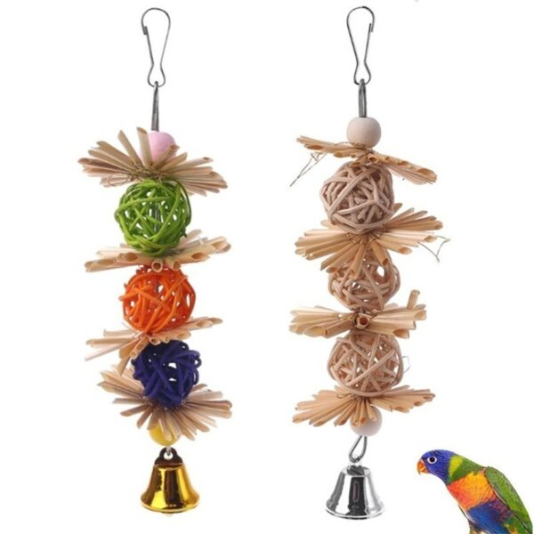 1PC Colorful Parrot Chew Strands Bite Teeth Griding Ball Bell Attractive Bird Parakeet Toys Natural Straw Bird Supplies Pet Toy