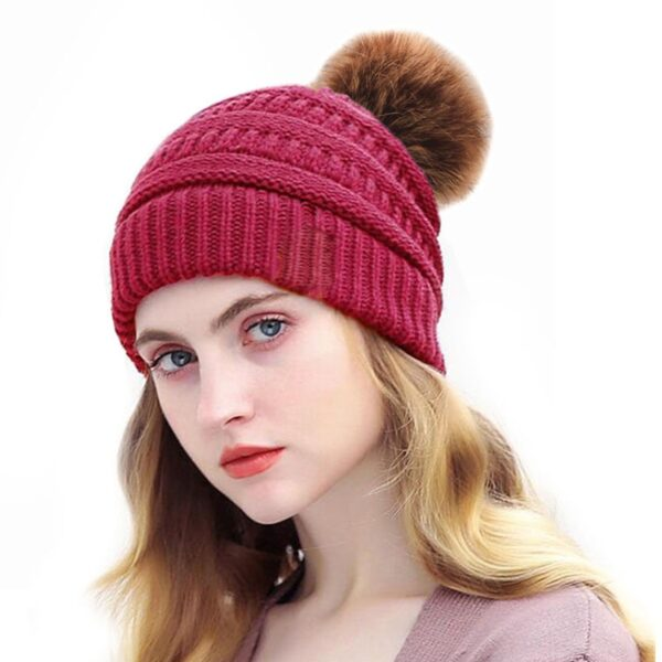 Xthree Acrylic Hat with lining knitted hat beanie cap with faux fur pom pom hat winter hats for women hat for girl winter cap