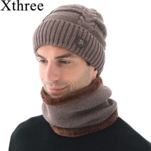 Xthree Winter Skullies Hat For Men Beanies Wool Knitted Hat Scarf With Lining Male Gorras Bonnet Winter Hats Beanie