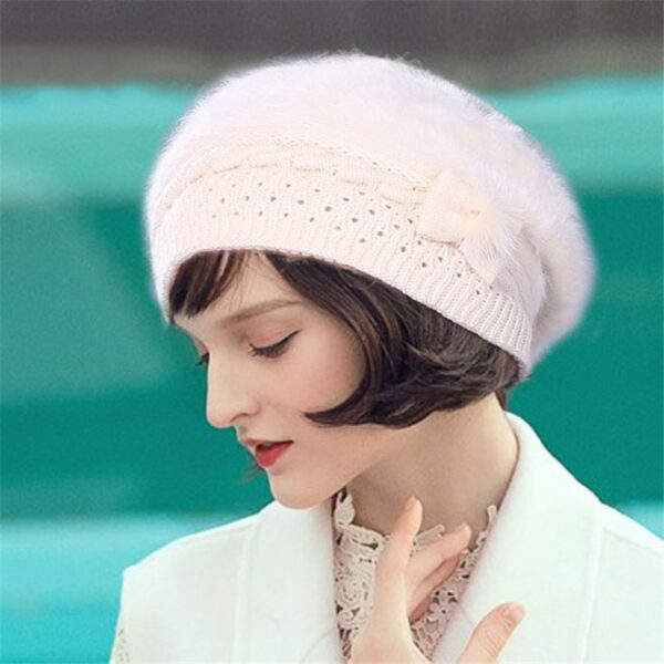 Xthree Winter Autumn beret hat for women knitted hat for mom Rabbit fur beret solid fashion lady cap fall hat Female cap