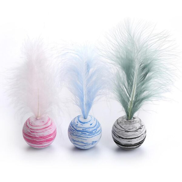 Cat Toy Star Ball Plus Feather EVA Material Light Foam Ball Throwing Toy Funny Interactive Plush Toy Stick Feather Wand Supplies