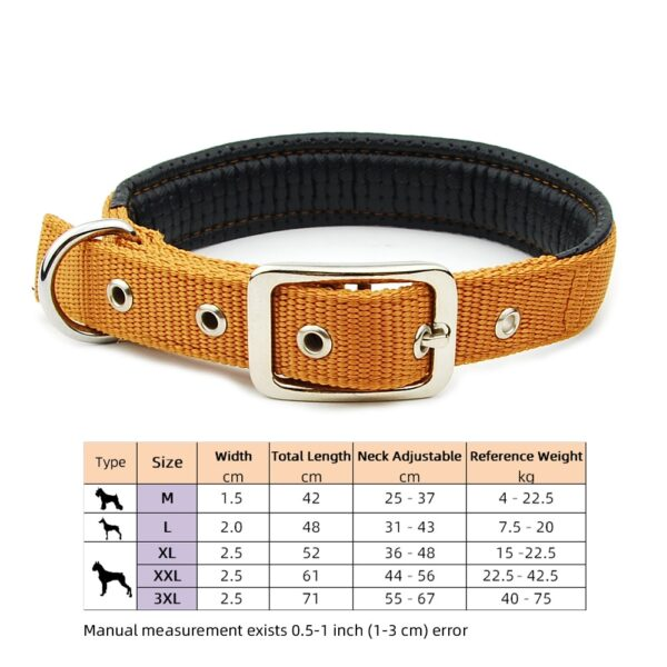 Dog Collar Nylon Padded Reflective Collar Pet Adjustable Outdoor Comfortable Necklace for Large Dogs Pitbull Collier Chien