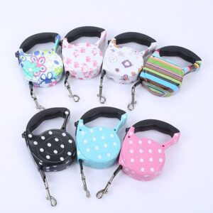 3m 5m Retractable Dog Leash 11 Colors Fashion Printed Puppy Auto Traction Rope Nylon Walking Leash for Small Dogs Cats Pet Leads