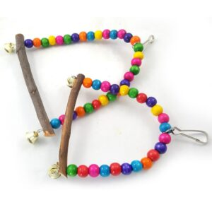1PC Natural Wooden Parrots Swing Toy Birds Colorful Beads Bird Supplies Bells Toys Perch Hanging Swings Cage for Pets