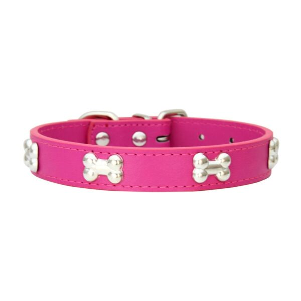 Fashion Red Purple Black Green Leather Dog Collar Bone Shaped Accessories Collar for Dogs Small Pet Dog Supplies
