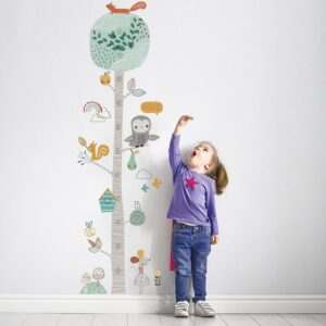 Cute Forest Tree Height Measure Wall Sticker For Kids Room Nursery Child Growth Chart Wall Decal Baby Gift Animal Room Decor