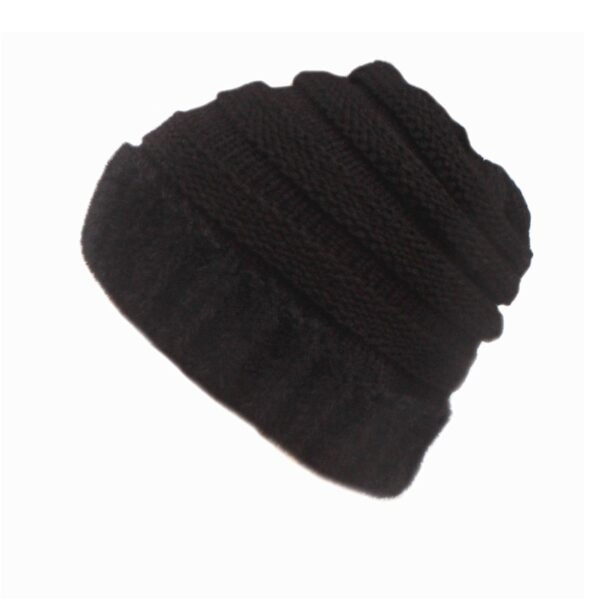 Xthree Faux Mink Fur Hat Ponytail Knitted Hat Winter Hat for Women beanies Autumn Cap Ponytail Hat for Girl 2020 New