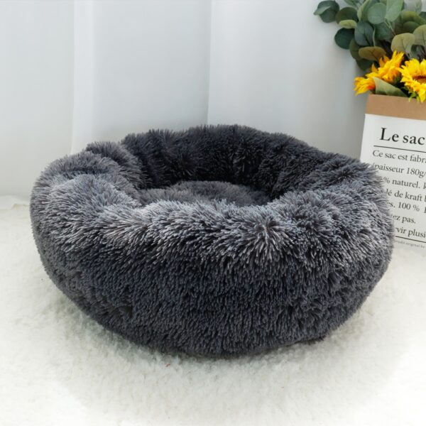 Warm Fleece Dog Bed Round Pet Cushion For Small Medium Large Dogs Cat Long Plush Winter Dog Kennel Puppy Mat Bed Lounger Sofa