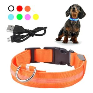 USB Rechargeable Pet Dog LED Glowing Collar Pet Luminous Flashing Necklace Outdoor Walking Dog Night Safety Collar Pet Supplies
