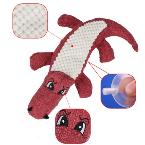 Pet Chew Toys Pet Puppy Chew Plush Cartoon Animals Squirrel Cotton Bite Toy Crocodile Shaped Squeak Toys For Small Medium Pets