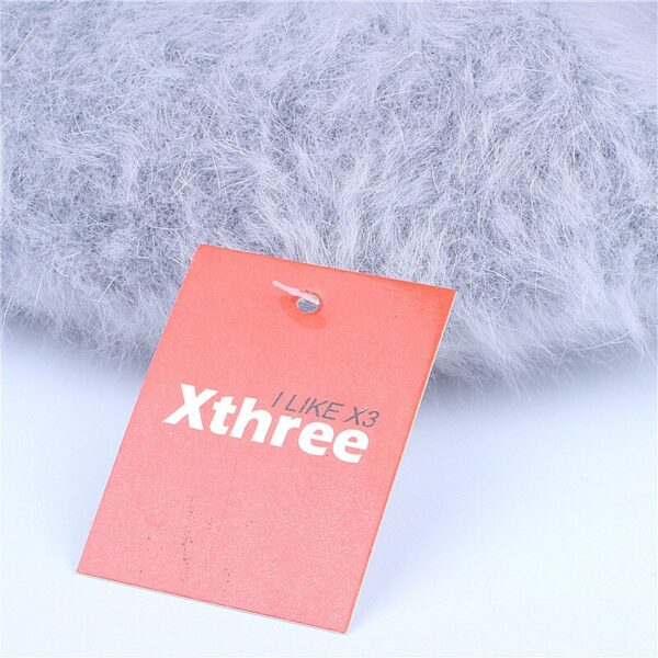 Xthree Winter Autumn women's Rabbit fur beret hat for girl knitted hat solid fashion taking the female boina