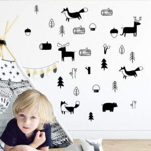 Lovely Tribal Animals Vinyl Forest Woodland Wall Stickers For Kids Rooms Decor Wall Sticker Fox Wall Decal Deer наклейки