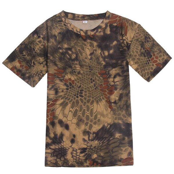 Summer T-Shirt Quick Dry Camouflage O Neck Short Sleeve Tee Shirt Men's Casual Outdoors Tactical Combat T Shirts Military Tops