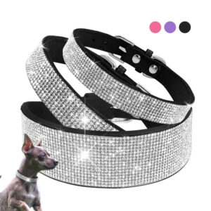 Bling Rhinestone Dog Cat Collars Leather Pet Puppy Kitten Collar Walk Leash Lead For Small Medium Dogs Cats Chihuahua Pug Yorkie