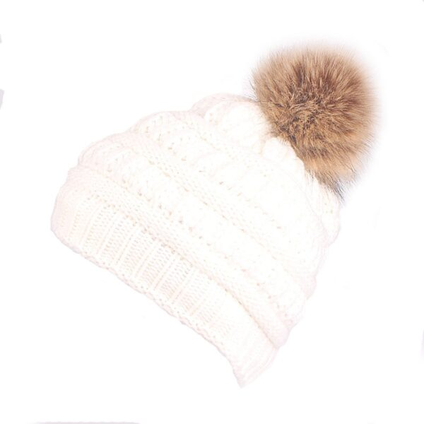 Xthree Hot sale polyester knitted beanie cap with faux fur pom pom winter hats for women outdoor pop ski caps cheap hat