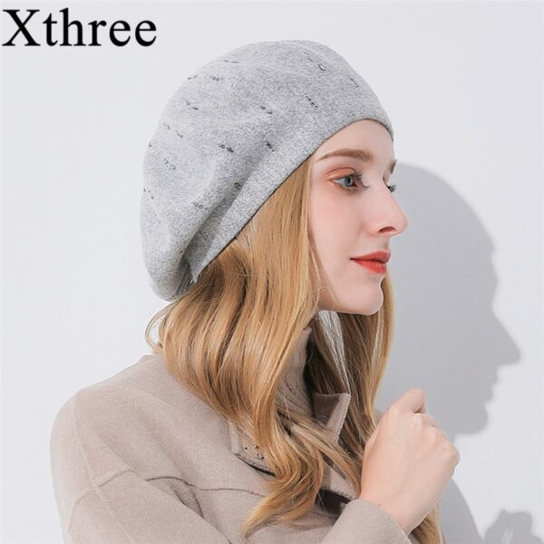 Xthree winter women's hat Cashmere beret hat Rhinestone knitted beret hat for girl fashion lady cap