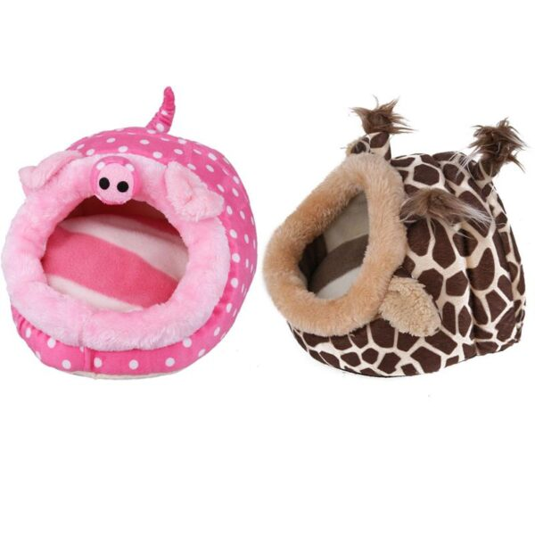 Cute Pet Hamster Cage Guinea Pig House Chinchillas Squirrel Bed Nest Cavy Mini Animals Hamster Accessories Pink Leopard