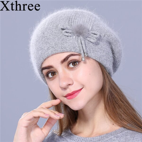 Xthree Winter beret hat for women knitted hat Rabbit fur beret for girl solid colors fashion lady cap good quality
