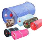 Cat Tunnel Toy Pet Tunnels and Tubes Peep Hole Design Collapsible 2 holes With Bells Play Fun 6 Color Toy with Crinkle