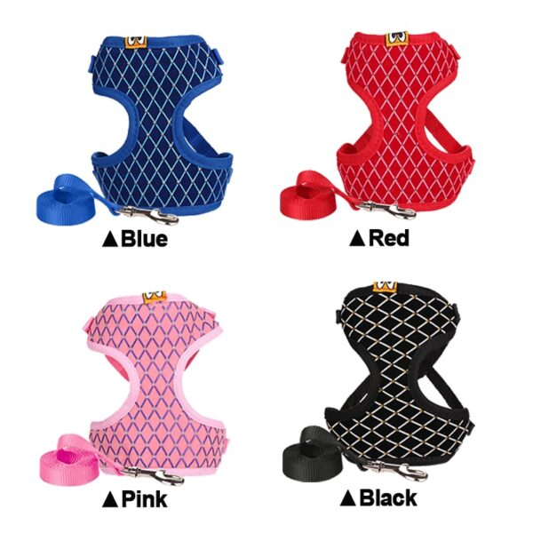 Rhinestone Mesh Cat Harness And Leash Set Breathable Adjustable Pet Vest Harness For Small Dog Cat Walking Harnesses Leads