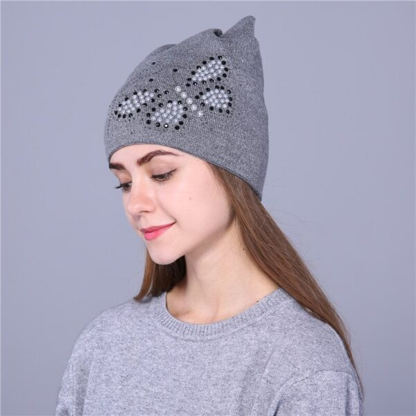 Xthree Autumn winter hat for women knitted beanies hat cat ear stylish cap Butterfly 2017 new fashion lovely cap