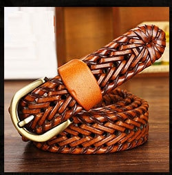 [DWTS] 2019 Fashion Mens belts luxury genuine leather Brown braided Real Cow skin straps men Jeans Wide girdle Male 120 cm
