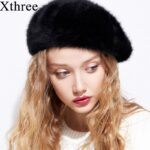 Xthree-Winter-Autumn-women's-Rabbit-fur-beret-hat-for-girl-knitted-hat-solid-fashion-taking-the-female-boina