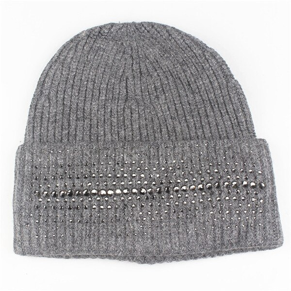 Xthree Fashion Winter Hat for Women 's Hat Cashmere Knitted Hat With Rhinestones Pointed Skullies Beanies Hat Girl Wool Cap