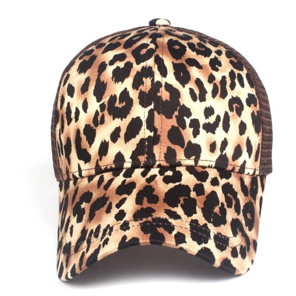 Xthree Leopard Print Summer Ponytail Baseball Cap Mesh Hats For Women Messy Bun Casual Hip Hop Snap back Gorras Hombre hats