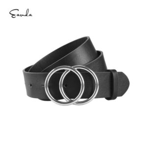 Womens Belts for Dress Fashion Double Buckle Leather Belt Strap Cinturon Mujer for Jeans