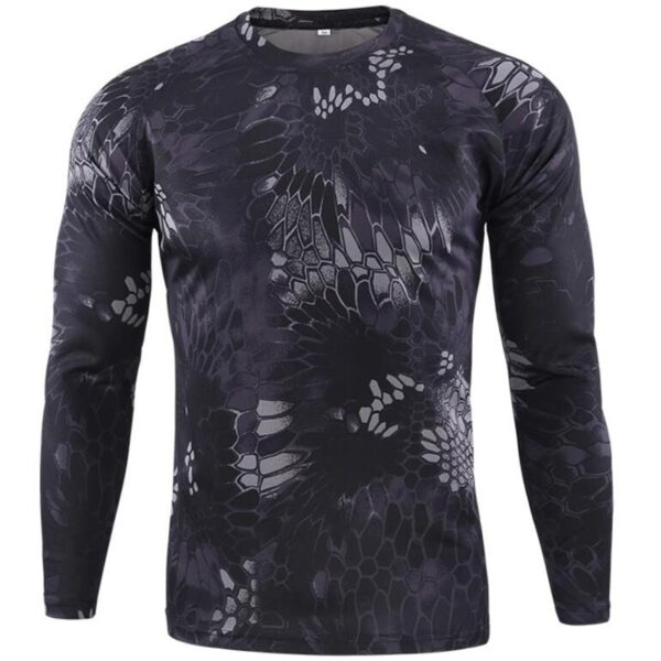 New Long Sleeve T shirts Men Outdoor Tactical Military Camouflage T-shirt Quick Dry Camo Tshirt Hunting Hiking Camping Tee Shirt