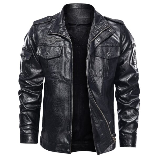 New Autumn winter leather jacket men stand collar motorcycle washed leather jacket mens pu coats quality leather military Bomber