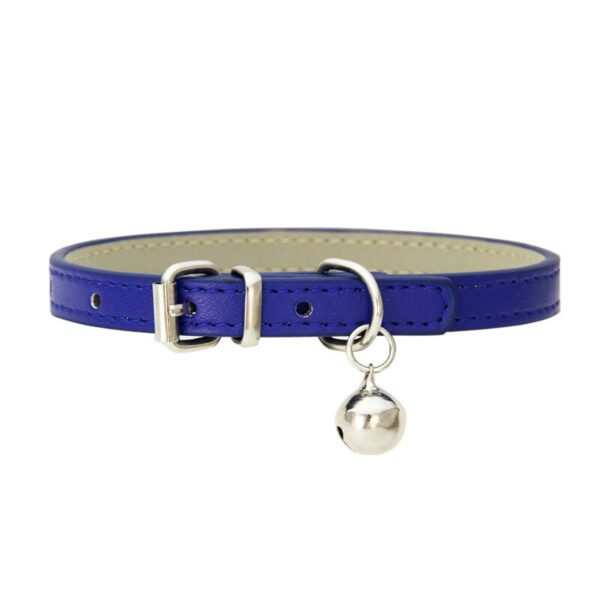 Leather Small Dog Cat Collar with Bell Safety Adjustable Cat Kitten Straps Puppy Necklaces Chihuahua Collars Pet Supplies