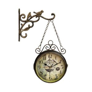 Vintage Double Sided Wall Clock Bronze American Country Style Silent Quartz Clock Wrought Iron Round Clock Living Room Decor