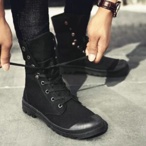 New Fashion all Black Men Casual Canvas flats Shoes Boys Tenis high top outdoor Non-slip Sneakers shoes Military boots TD-78