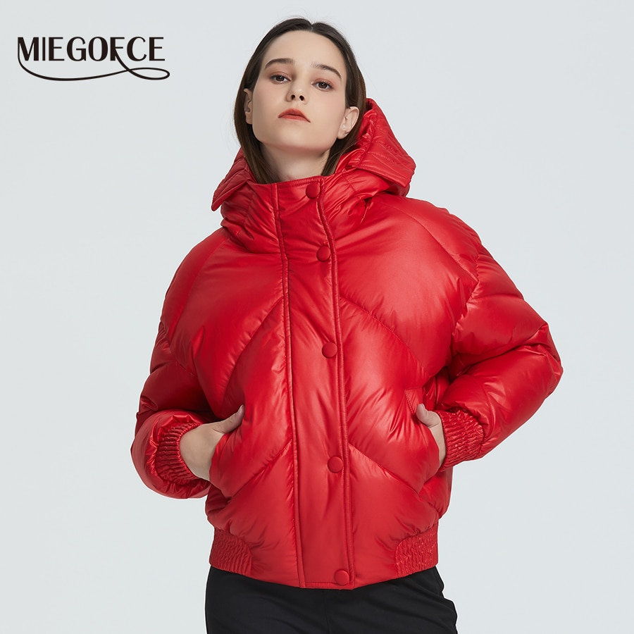 MIEGOFCE 2020 New Design Winter Coat Women's Jacket Insulated Cut Waist Length With Pockets Casual Parka Stand Collar Hooded