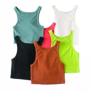 Aachoae Summer Women Fashion Tank Tops 2020 Solid Casual Knitted Crop Top Female Sleeveless Chic Ladies Tops Ropa De Mujer