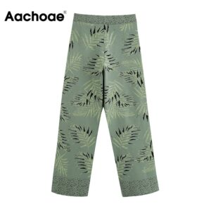 Aachoae Fashion Floral Patchwork Knitted Pants Women Long Length Loose Wide Leg Pants High Waist Boho Style Trousers Lady 2020