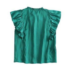 Aachoae Chic Women Green Ruffle Blouses 2020 Bow Tie Hollow Out Top Shirt Female Short Sleeve Solid Casual Blouse Blusas Mujer
