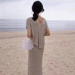 Aachoae Solid Knit Skirt Set Women V Neck Bawting Short Sleeve Loose Tops High Waist Straight Midi Skirt Sets Ensemble Femme