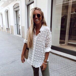 Aachoae Women White Lace Chiffon Blouse Long Sleeve Polka Dot Embroidery Shirt Fashion Turn Down Collar Office Blouse Blusas