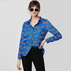Aachoae Fashion Animal Zebra Print Women Blouses 2020 Loose Long Sleeve Blouse Shirt Turn Down Collar Ladies Tunic Tops Blusas