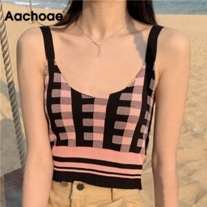 Aachoae Plaid Patchwork Camisole Women Sexy Spaghetti Strap Short Tank Tops Lady Retro Slim Knitted Camis Female Vetement Femme