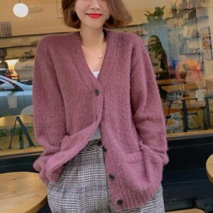 Aachoae Pure Cardigan Sweater Women Loose Korean Style Knitted Tops Lady Long Sleeve Pocket Casual Sweaters V Neck Outerwear
