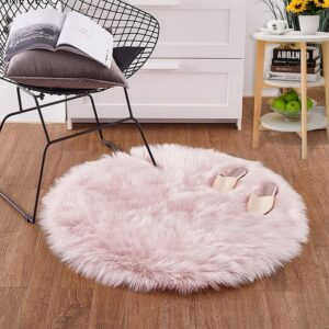 Soft Luxury Plush Artificial Sheepskin Rug Chair Bedroom Mat Decorative Wool Warm Hairy Carpet Seat Covers Washable Round