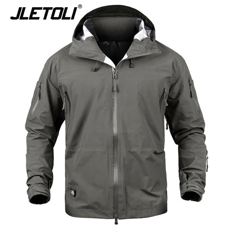 JLETOLI Waterproof Jacket Windbreaker Winter Outdoor Hiking Jacket Men Women Coat Windproof Hard Shell Jacket Tactics Clothes