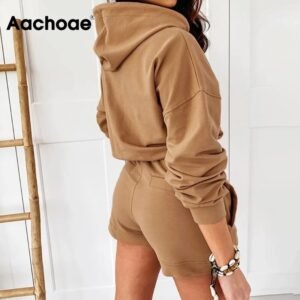 Aachoae Casual Solid Set Women Summer Autumn Batwing Long Sleeve Sports Hooded Hoodies And Loose Home Lady Shorts Outfit
