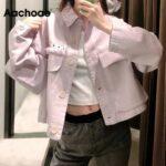 Aachoae-Women-Loose-Solid-Jacket-Big-Pocket-Tassel-Chic-Coat-Outerwear-Batwing-Long-Sleeve-Purple-Color-Short-Jacket-Female