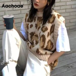 Aachoae High Street Leopard Sweater Vest Women O Neck Pullover Sweaters Sleeveless Loose Fashion Knit Ladies Tops Autumn Spring